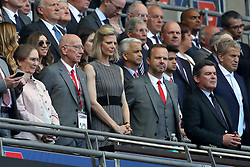 Sir Bobby Charlton (2nd left) with wife Norma Ball (left), Manchester United chief executive Ed Woodward (2nd right)