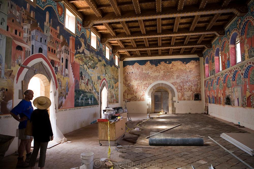 Daryl Sattui's 121,000 square foot castle winery under construction, in Calistoga, Napa Valley, California. Castello di Amorosa Winery.