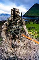 Faroe Islands. Art at Gjogv on the northeast tip of the island of Eysturoy.