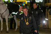 Celtic Manager Neil Lennon waves to the fans assembled outside Parkhead ahead of the Europa League match between Celtic and FC Copenhagen at Celtic Park, Glasgow, Scotland on 27 February 2020.