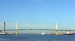 © Licensed to London News Pictures. 30/10/2013<br /> Sunny weather and Blue sky above The Queen Elizabeth II Bridge in Dartford.<br /> Blue sky and sunny weather today (30.10.2013) across Kent and the South East,UK.<br /> Photo credit :Grant Falvey/LNP