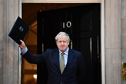 © Licensed to London News Pictures. 13/12/2019. London, UK. British Prime Minister BORIS JOHNSON is seen speaking outside 10 Downing Street in London after the Conservative party achieved a clear majority in the General Election. A general election was called for December 12th following a deadlock in Parliament over the UK's decision to leave the EU. Photo credit: Ben Cawthra/LNP