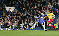 Photo: Lee Earle.<br /> Chelsea v Watford. The Barclays Premiership. 11/11/2006. Chelsea's Andriy Shevchenko (L) scores their third.