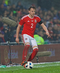CARDIFF, WALES - Thursday, March 24, 2016: Wales' Chris Gunter in action against Northern Ireland during the International Friendly match at the Cardiff City Stadium. (Pic by Paul Greenwood/Propaganda)