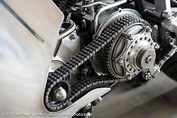 Max Hazan's naked 74ci S&S Knucklehead Sport bike with 2-front heads, 2-carbs and open primary in his Los Angeles, CA shop. Thursday, June 20, 2019. Photography ©2019 Michael Lichter.
