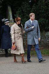 December 25, 2017 - King'S Lynn, England, United Kingdom - 12/25/17.Prince Harry, Meghan Markle, Catherine, The Duchess of Cambridge, Prince William, Prince Edward and Queen Elizabeth II attend Christmas church services at St. Mary Magdalene Church on the Sandringham Estate. (Credit Image: © Starmax/Newscom via ZUMA Press)