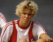 Bled, Slovenia, YUGOSLAVIA.  DEN LM2X, Ulla ANDERSEN. 1989 World Rowing Championships, Lake Bled. [Mandatory Credit. Peter Spurrier/Intersport Images]