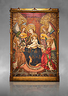 Gothic altarpiece of Madonna and Child and 4 angels, by Pere Garcia de Benavarri, circa 1445-1485, tempera and gold leaf on wood.  National Museum of Catalan Art, Barcelona, Spain, inv no: MNAC  15817. Against a grey art background. . .<br /> <br /> If you prefer you can also buy from our ALAMY PHOTO LIBRARY  Collection visit : https://www.alamy.com/portfolio/paul-williams-funkystock/gothic-art-antiquities.html  Type -     MANAC    - into the LOWER SEARCH WITHIN GALLERY box. Refine search by adding background colour, place, museum etc<br /> <br /> Visit our MEDIEVAL GOTHIC ART PHOTO COLLECTIONS for more   photos  to download or buy as prints https://funkystock.photoshelter.com/gallery-collection/Medieval-Gothic-Art-Antiquities-Historic-Sites-Pictures-Images-of/C0000gZ8POl_DCqE