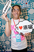 Tomo Go, event organizer for Moshi Moshi Nippon, Hyper Japan 2014, Earls Court, London, UK, July 25, 2014. Hyper Japan is the UK's largest Japanese culture event. It took place at the Earls Court exhibition space from 25 to 27 July 2014.