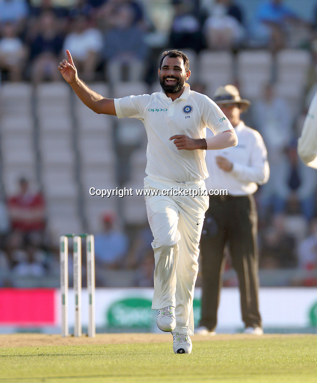Adil Rashid out, caught off the bowling of Mohammed Rashid (celebrating), during the 4th Test Match between England and India at the Ageas Bowl, Southampton.<br /> 1 September 2018. Copyright photo: Graham Morris / www.photosport.nz
