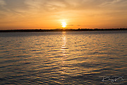 Sunset in lake at Martin Dies state park, Texas