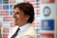 Wales national team manager Chris Coleman holds a press conference at the Evans Halshaw Vauxhall car dealership in Cardiff on Wed 1st Oct 2014 to announce his Wales squad for the forthcoming Euro 2016 qualifying matches. pic by Andrew Orchard, Andrew Orchard sports photography.