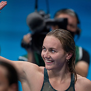 TOKYO, JAPAN - JULY 28: Ariarne Titmus of Australia  winning the gold medal in the 200m freestyle for women during the Swimming Finals at the Tokyo Aquatic Centre at the Tokyo 2020 Summer Olympic Games on July 28, 2021 in Tokyo, Japan. (Photo by Tim Clayton/Corbis via Getty Images)