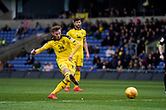 James Henry of Oxford United free kick outside the penalty area during the EFL Sky Bet League 1 match between Oxford United and Peterborough United at the Kassam Stadium, Oxford, England on 16 February 2019.