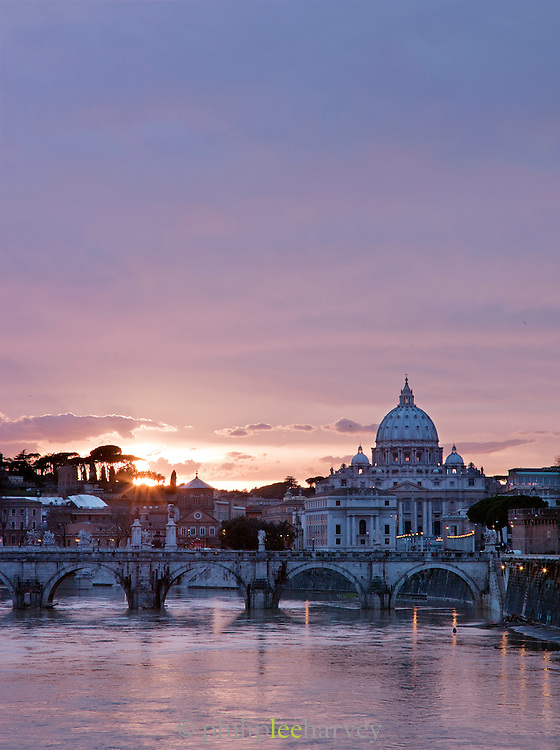 Saint Peter's Basilica, the Vatican City and the Tiber River at dusk, Rome, Italy