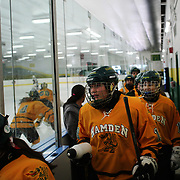 Hamden High School girls ice hockey team take to the ice for a match against Simsbury at Hamden High School Ice Rink, Hamden, Connecticut, USA. 20th February 2014. Photo Tim Clayton