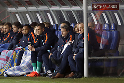 (L-R) Wesley Hoedt of Holland, goalkeeper Jeroen Zoet of Holland, Marko van Ginkel of Holland, Jurgen Locadia of Holland, Kenny Tete of Holland, Donny van de Beek of Holland, Davy Klaassen of Holland, goalkeeper Maarten Stekelenburg of Holland, caretaker Ricardo de Sanders of Holland, doctor Edwin Goedhart of Holland, assistant trainer Ruud Gullit of Holland, coach Dick Advocaat of Holland, assistant trainer Fred Grim of Holland during the FIFA World Cup 2018 qualifying match between Belarus and Netherlands on October 07, 2017 at Borisov Arena in Borisov,  Belarus