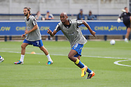 AFC Wimbledon midfielder Jimmy Abdou (8) warming up during the EFL Sky Bet League 1 match between AFC Wimbledon and Shrewsbury Town at the Cherry Red Records Stadium, Kingston, England on 12 August 2017. Photo by Matthew Redman.