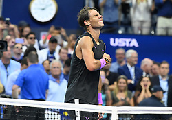 September 8, 2019, Flushing Meadow, NY, USA: FLUSHING MEADOW, NY - SEPTEMBER 08: Rafael Nadal (ESP) reacts to winning the men's singles title of the US Open on September 8, 2019, at the Billie Jean King Tennis Center in Flushing Meadow, NY. (Photo by Cynthia Lum/Icon Sportswire) (Credit Image: © Cynthia Lum/Icon SMI via ZUMA Press)