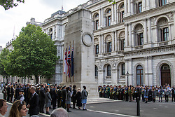 Whitehall, London, May 24th 2017.  Wreaths are laid at the Cenotaph on Whitehall in London as The Band of the Welsh Guards and the Colour Guard of the United Nations Veterans Association lead members of the diplomatic corps and wreath layers from The Royal United Services Institute as they observe The International day of United Nations Peacekeepers, amid tight security. PICTURED: A General view of the ceremony at the Cenotaph in Whitehall.