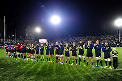 The Bath Rugby team participate in a minute's applause in honour of the late Anthony Foley - Mandatory byline: Patrick Khachfe/JMP - 07966 386802 - 20/10/2016 - RUGBY UNION - The Recreation Ground - Bath, England - Bath Rugby v Bristol Rugby - European Rugby Challenge Cup.