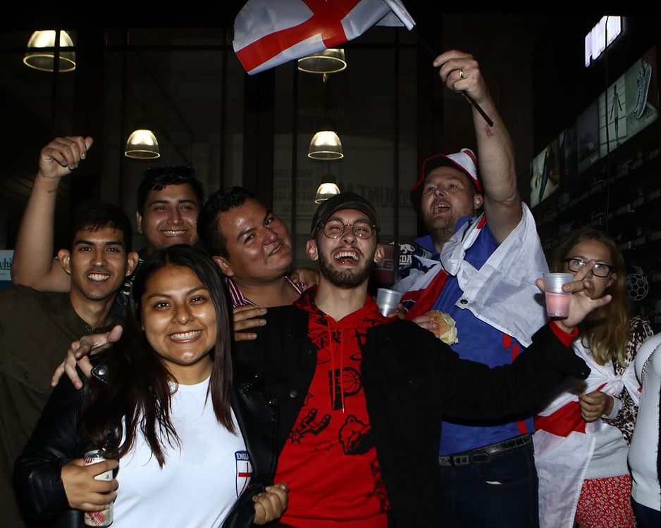 Fans showing their support for England in Picaddilly Circus. 11/07/2021,  Marcin Riehs/Pathos