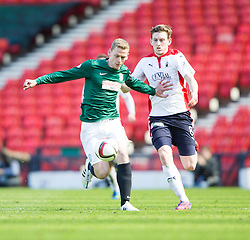 Hibernian's Paul Hanlon and Falkirk's Blair Alston.<br /> Hibernian 0 v 1 Falkirk, William Hill Scottish Cup semi-final, played 18/4/2015 at Hamden Park, Glasgow.