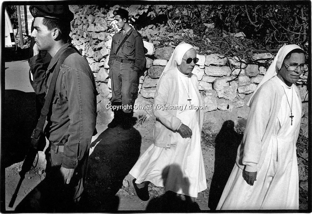 Palestine. Bethleem. Arrivée de Yasser Arafat à Bethleem après le retrait israëlien.