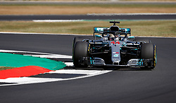 Mercedes' Lewis Hamilton during practice ahead of the 2018 British Grand Prix at Silverstone Circuit, Towcester.