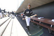 GLENDALE, ARIZONA - FEBRUARY 23:  Jon Jay #45 of the Chicago White Sox looks on prior to the game against the Los Angeles Dodgers on February 23, 2019 at Camelback Ranch in Glendale Arizona.  (Photo by Ron Vesely)  Subject:  Jon Jay
