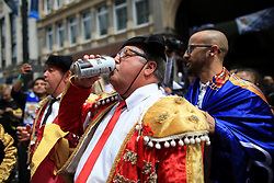 3rd June 2017 - UEFA Champions League Final - Juventus v Real Madrid - Real fans enjoy a beer before the match - Photo: Simon Stacpoole / Offside.