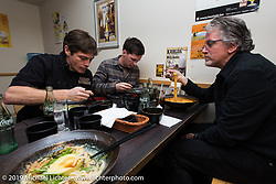At dinner with Harley-Davidson's head of design Ray Drea (R) with Charlie Wartgow and Ben McGinley. Tokyo, Japan. Wednesday, December 10, 2014. Photograph ©2014 Michael Lichter.