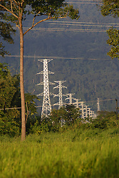 Transmission pylons that carry power from THPC 2 cross rice fields near Nahin,<br />Ban Pusat, Bolikhamsay Province, Lao PDR