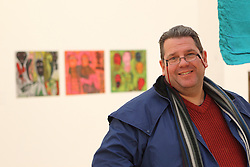 Member of visually impaired art class from Mysight charity visiting Nottingham Contemporary art gallery to see Haitian exhibition.