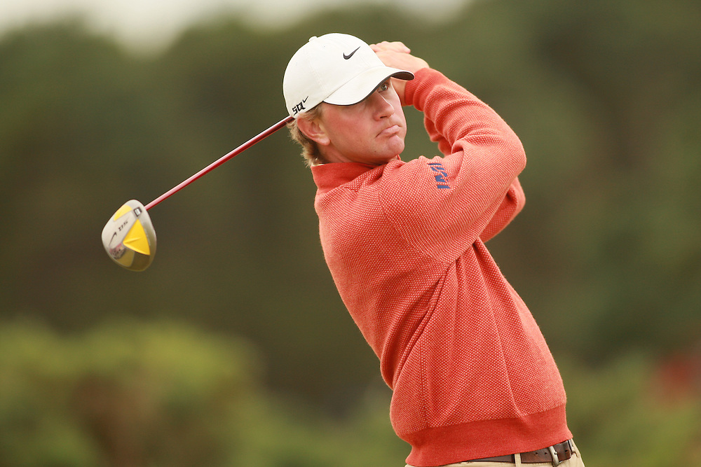 CARNOUSTIE, SCOTLAND - JULY 20: Lucas Glover follows through on a tee shot during the second round of the 136th Open Championship in Carnoustie, Scotland at Carnoustie Golf Links on Friday, July 20, 2007. (Photo by Darren Carroll/Getty Images) *** LOCAL CAPTION *** Lucas Glover