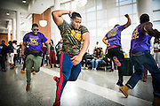 Norfolk State University students practice stepping during lunch in the Student Union.