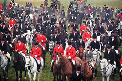 Riders and supporters from seven Leicestershire hunts gather to protest against MP Michael Foster's bill to abolish hunting with dogs, Leicestershire, England, UK, 27/11/97.