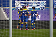 AFC Wimbledon defender Terell Thomas (6) celebrating after scoring goal to make it 2-1 during the EFL Trophy Group O match between AFC Wimbledon and Charlton Athletic at the Kiyan Prince Foundation Stadium, London, England on 1 September 2020.