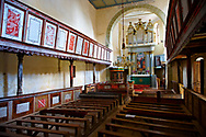 The interior of the Szekly medieval fortified church of Viscri, Buneşti, Braşov, Transylvania. Started in the 1100's.  UNESCO World Heritage Site .<br /> <br /> Visit our ROMANIA HISTORIC PLACXES PHOTO COLLECTIONS for more photos to download or buy as wall art prints https://funkystock.photoshelter.com/gallery-collection/Pictures-Images-of-Romania-Photos-of-Romanian-Historic-Landmark-Sites/C00001TITiQwAdS8<br /> .<br /> Visit our MEDIEVAL PHOTO COLLECTIONS for more   photos  to download or buy as prints https://funkystock.photoshelter.com/gallery-collection/Medieval-Middle-Ages-Historic-Places-Arcaeological-Sites-Pictures-Images-of/C0000B5ZA54_WD0s