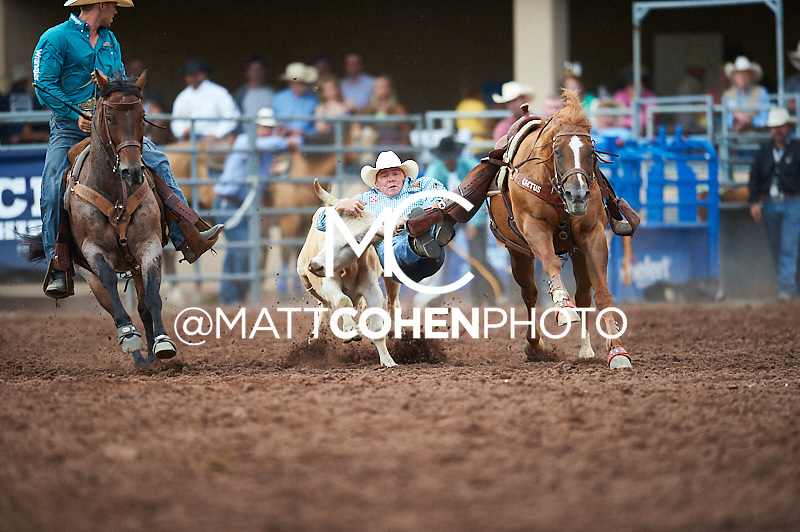 Steer wrestler K.C. Jones of Decatur, TX competes at the Pikes Peak or Bust Rodeo in Colorado Springs, CO.<br /> <br /> <br /> UNEDITED LOW-RES PREVIEW<br /> <br /> <br /> File shown may be an unedited low resolution version used as a proof only. All prints are 100% guaranteed for quality. Sizes 8x10+ come with a version for personal social media. I am currently not selling downloads for commercial/brand use.