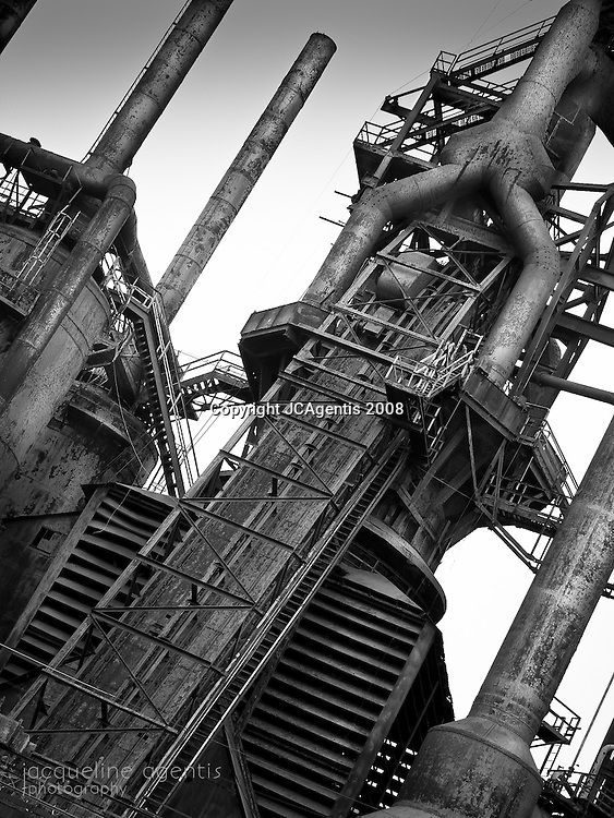 Angle shot of Industrial Bethlehem Steel Stacks in Black and White.  Bethlehem Steel, Bethlehem Pennsylvania by Jacqueline Agentis