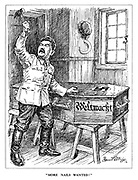 """""""More nails wanted!"""" (Stalin hammers nails into the Wehrmacht coffin as his hat and sickle hang up on the wall)"""