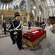 The regalia (Crown, Sceptre, Globus Cruciger and Sword of State) lie at the credence-table prior to the inauguration of King Willem-Alexander at Nieuwe Kerk or New Church in Amsterdam, The Netherlands, Tuesday April 30, 2013. HANDOUT/PETER DEJONG