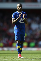 Everton's Enner Valencia applauds the away fans at full time