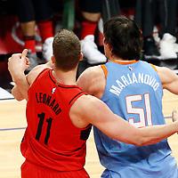 18 March 2018: Portland Trail Blazers center Meyers Leonard (11) defends on LA Clippers center Boban Marjanovic (51)  during the Portland Trail Blazers 122-109 victory over the LA Clippers, at the Staples Center, Los Angeles, California, USA.