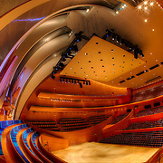 Interior of Helzberg Hall in the Kauffman Center for the Performing Arts in Kansas City, Missouri.