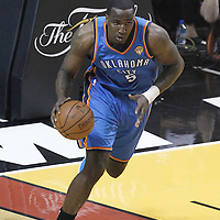 21 June 2012: Oklahoma City Thunder center Kendrick Perkins (5) brings the ball upcourt during the Miami Heat 121-106 victory over the Oklahoma City Thunder, in Game 5 of the 2012 NBA Finals, at the AmericanAirlinesArena, Miami, Florida, USA. The Miami Heat wins the series 4-1.