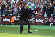 West Ham United Manager Slaven Bilic shouts in the technical area. Premier league match, West Ham Utd v Swansea city at the London Stadium, Queen Elizabeth Olympic Park in London on Saturday 8th April 2017.<br /> pic by Steffan Bowen, Andrew Orchard sports photography.