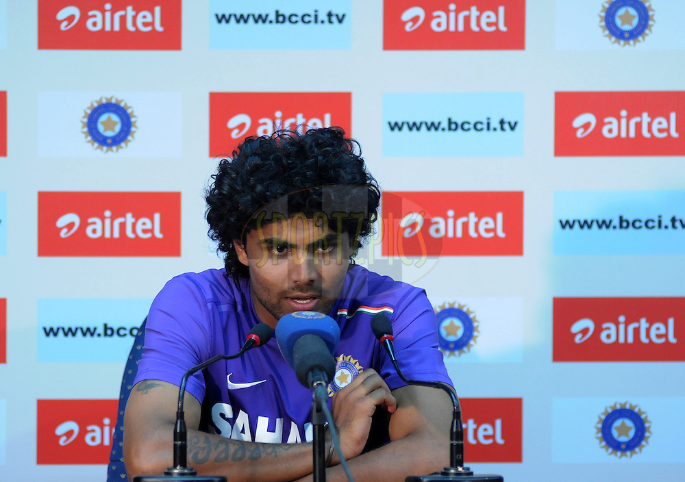 Ravindra Jadeja of India addresses a press conference after the days play on day one of the 4th Airtel Test Match between India and England held at VCA ground in Nagpur on the 13th December 2012..Photo by  Pal Pillai/BCCI/SPORTZPICS .