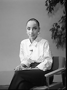 """Sade and Tony Hadley Interviews.  P92..1984.21.08.1984..08.21.1984..21st August 1984..As part of his interview sessions for """"Video File"""" for R.T.E., Marty Whelan interviewed international music stars. The interviews were held in the R.T.E.,studios and at various hotels throughout the city...Singer, Sade, is pictured prior to her interview with Marty Whelan for R.T.E.s Video File."""